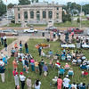 Tribune-Star/Joseph C. Garza<br /> Featured speaker: Retired Major General D. Trent Anderson addresses the crowd gathered for the monument dedication to Major Charles B. Hall Saturday on the lawn of the Brazil City Hall.