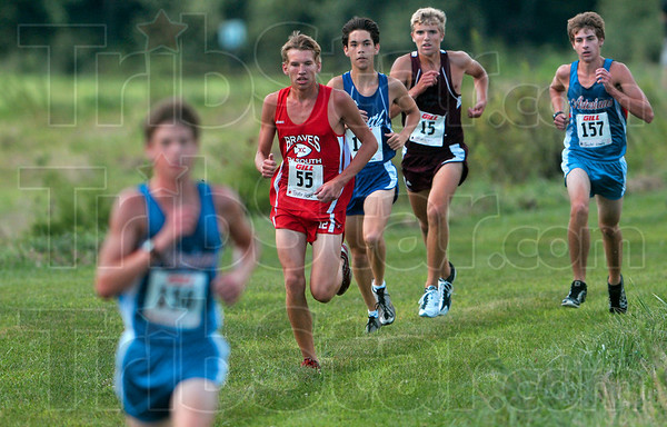 Tribune-Star/Joseph C. Garza<br /> In pursuit: Terre Haute South's Taylor Head, second from left, and Northview's Conner Strain, second from right, chase after Martinsville's Jace Lowry with two other opponents Saturday at the Lavern Gibson course during the boys 5-kilometer run of the Braves cross country invitational.