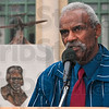 Tribune-Star/Joseph C. Garza<br /> Thank you: Charles T. Hall, the son of World War II Tuskegee airman and Brazil native, Major Charles B. Hall, thanks those that helped make the monument dedicated to his father possible Saturday in front of the Brazil City Hall.