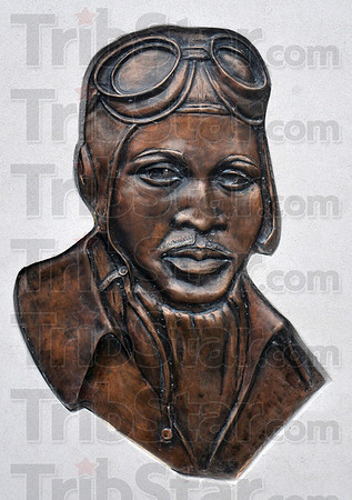 Tribune-Star/Joseph C. Garza<br /> Tuskegee airman: The portrait of Brazil native and World War II pilot, Major Charles B. Hall, on the new monument dedicated to him in front of the Brazil City Hall.