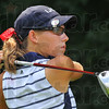 Top Patriot: Rachel Welker watches her drive from the #3 tee Saturday during the Patriot golf invitational.
