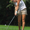 Off the tee: Northview golfer Mandi Tomlinson hits a drive on the front nine at Hulman Links Saturday afternoon.