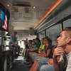 Tribune-Star/Joseph C. Garza<br /> Civics lesson: West Vigo High School senior Chris Waller, right, listens with his classmates as C-SPAN's Jeremy Art talks about the origins of the bus and what the cable channel does for citizens during a stop in West Terre Haute Wednesday.