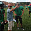 Tribune-Star/Joseph C. Garza<br /> Field directions: West Vigo head football coach Jeff Cobb instructs his players during team practice Tuesday at West Vigo.
