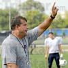 Making point: North coach Chris Barrett makes a point during Wednesday's football practice.