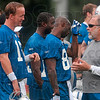 Tribune-Star/Joseph C. Garza<br /> Offense discussion: Indianapolis Colts quarterback Peyton Manning talks with senior offensive line coach Howard Mudd during team practice Wednesday morning at Rose-Hulman.