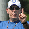 Making a point: Colts special team coach Ray Rychleski makes a point during today's practice at Rose-Hulman.