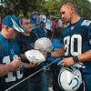 Tribune-Star/Joseph C. Garza<br /> The local kid: Indianapolis Colts tight end Jamie Petrowski, a Terre Haute North and Indiana State graduate, signs autographs for fans after team practice Monday at Rose-Hulman.