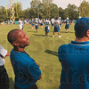 Tribune-Star/Joseph C. Garza<br /> He's been there, done that: Indiana State University assistant football coach and former Indianapolis Colt, Troy Walters, center, watches practice take place at Rose-Hulman Monday morning.