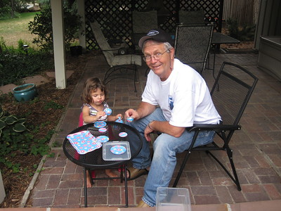 Mia and PaPA Ben Tea Party on Patio in Boulder