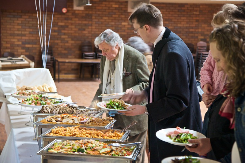 Food at the baptism celebration.