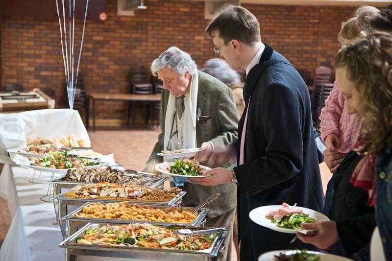 Food at the baptism celebration.