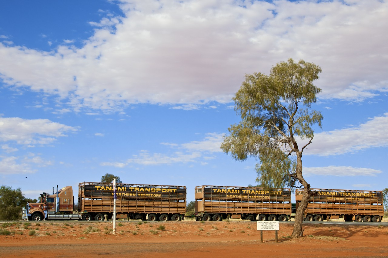 A road train parked at Erldunda roadhouse.