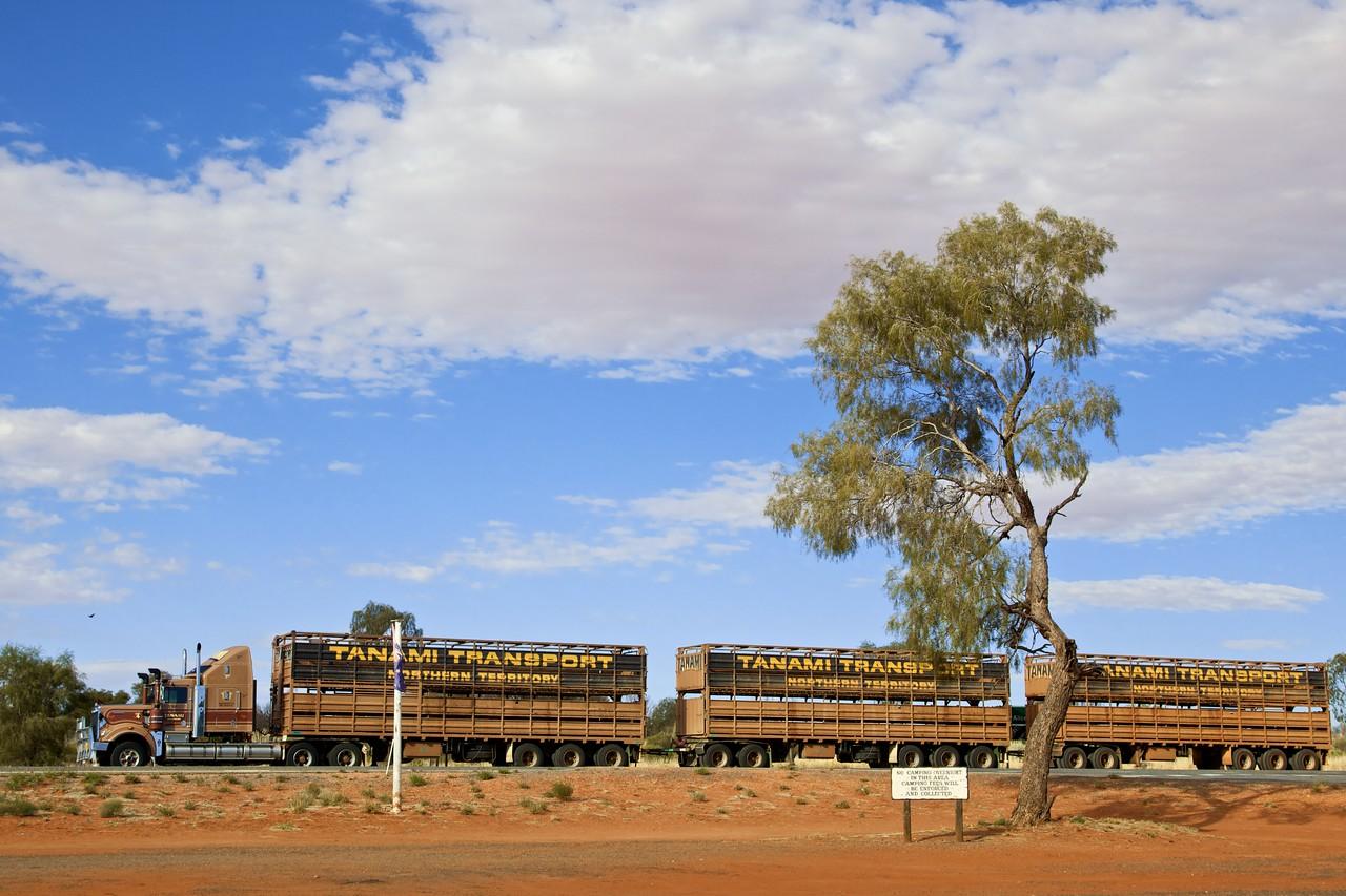 A road train parked at Erldunda roadhouse.