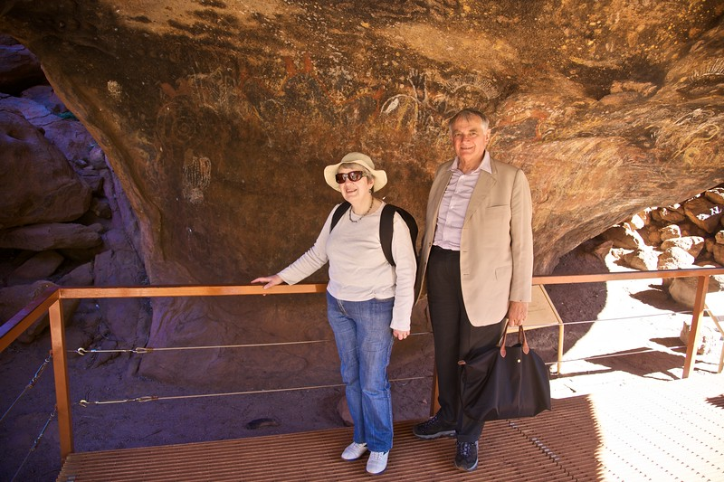 Looking at the Aboriginal rock paintings at Ayers' Rock.