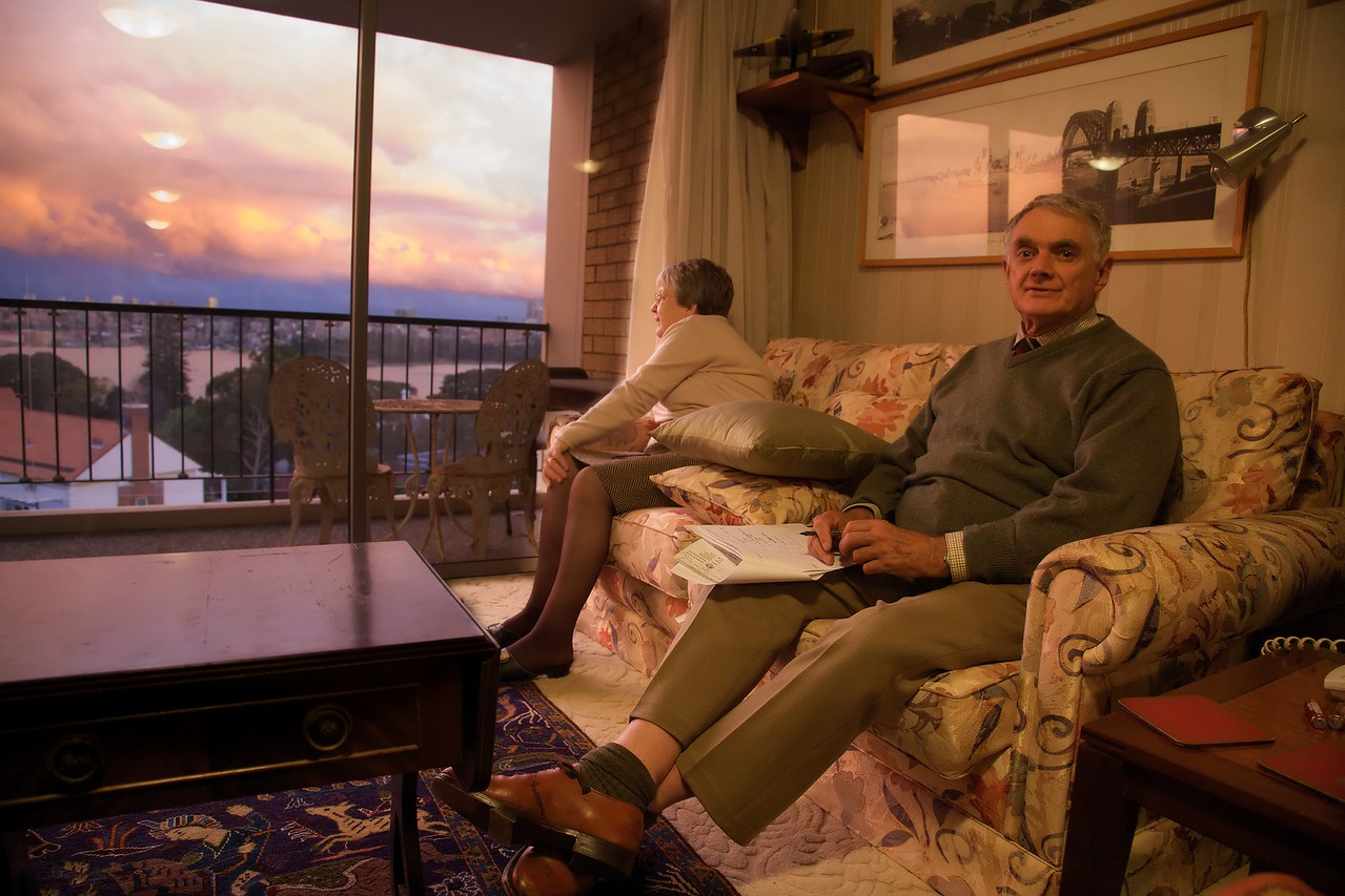 In the flat at sunset.