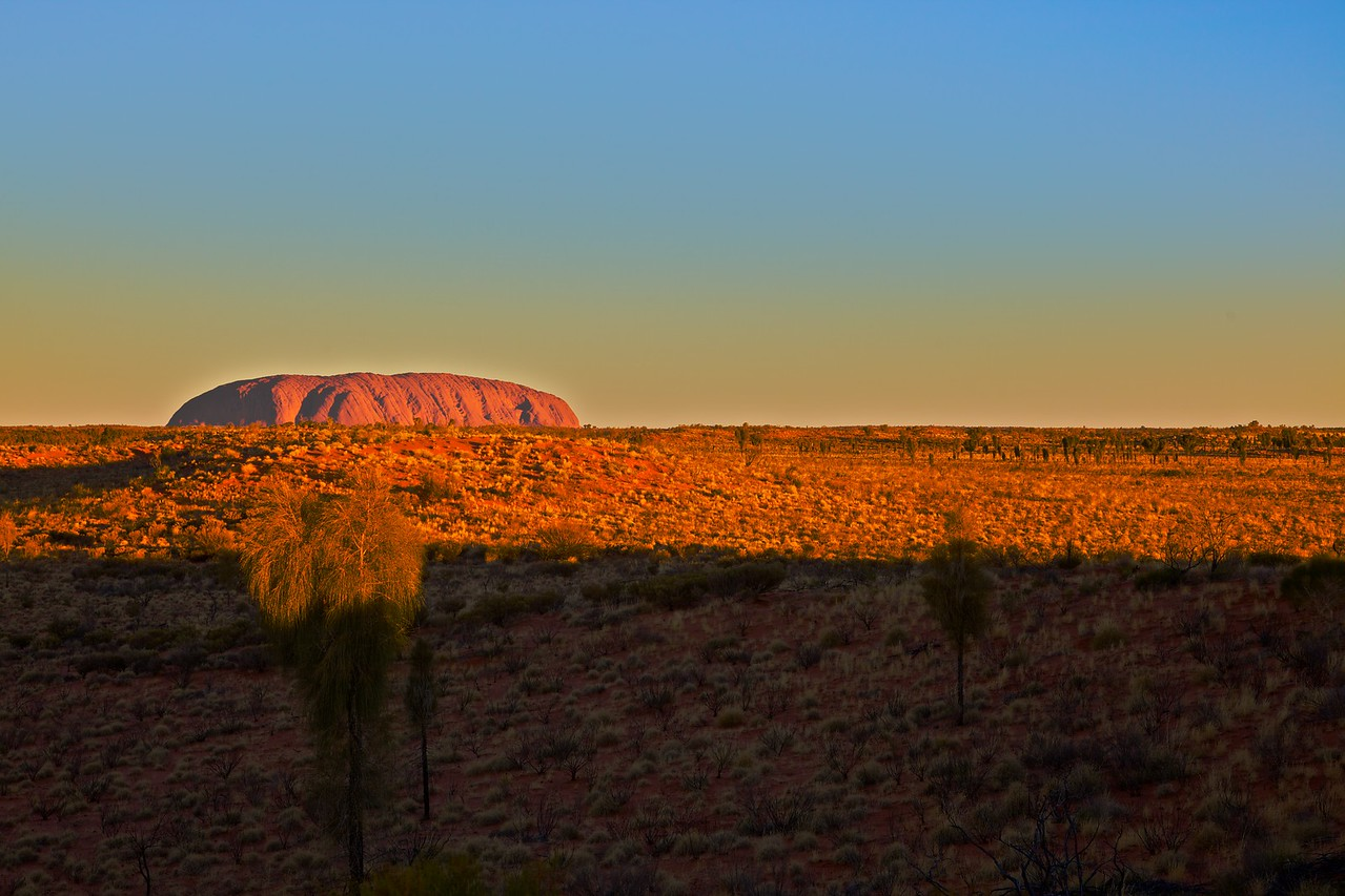 Ayers' Rock at sunset.