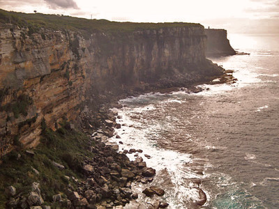 North Head. The cliffs are about 50 m high and full of fascinating WWII tunnels, bunkers and cannon emplacements that thankfully were never used.