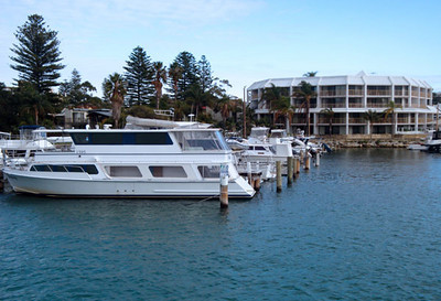 Perth accomodation. We generally try to moor out boats close to our doors. Helps keep things tidy.