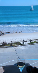 Blue Duck Cafe. At Cottesloe Beach, in midwinter. Sunbaking and surfing are other popular occupations. (Admittedly, our weather isn't always that perfect. Just nearly always).
