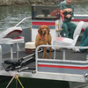 """ROCKY"" AT THE HELM OF THE RESORT'S PONTOON BOAT WHICH PAUL & MIKE RENTED & THE MOTOR WOULND'T RUN"