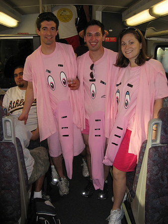 The pink elephants now that we donned our costumes and had help from our neighbors on teh train!