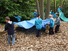 Two teams, each team had to design and construct a 'den' in the woods.