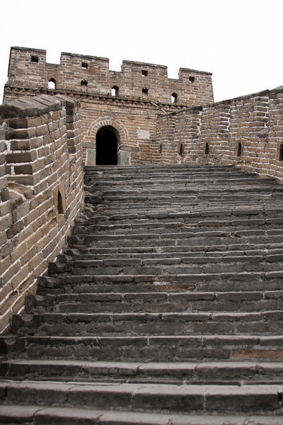Some millions of steps bring visitors up and down along the entire length of the Great Wall, positioned as it is along the tops of the mountains and ridges.
