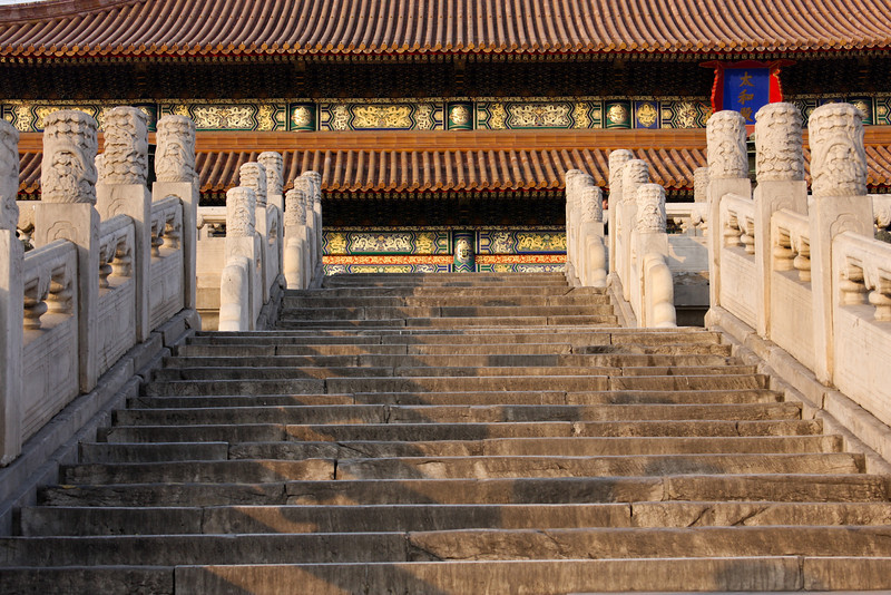 Lines of steps lead visitors up to the throne room at the Forbidden City.