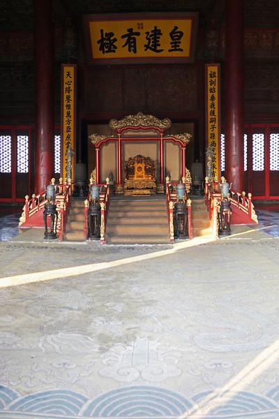 The Emporer's throne at the Forbidden City.