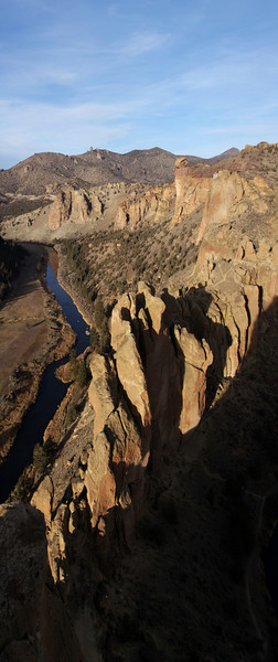 Smith Rock gets a last bit of sunlight before the shadows move in.