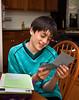 Benjamin reading birthday card