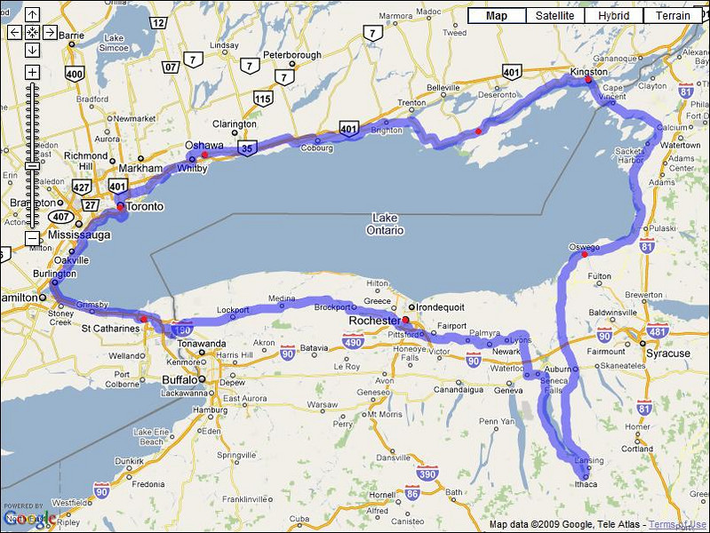 Start/ed in Ithaca. Stayed in Rochester, St. Catharines, Toronto, Oshawa, Bloomfield, Kingston, and Oswego