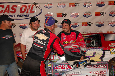 Ray Cook receives congratulations from Dale McDowell in Victory Lane @ Bluegrass Speedway