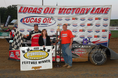 Earl Pearson, Jr. in Victory Lane with Track Promoters - Tim & Farrah Keithley @ Brownstown Speedway.
