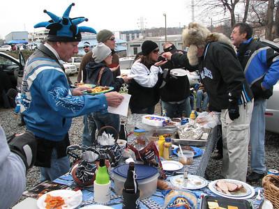 Chuck grabs a plate