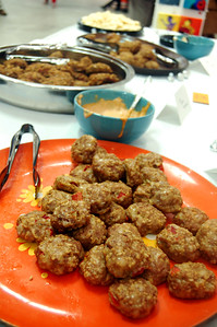 Poultry Meatballs and a spicy chipotle sauce. Catering by Orange Glory Cafe.