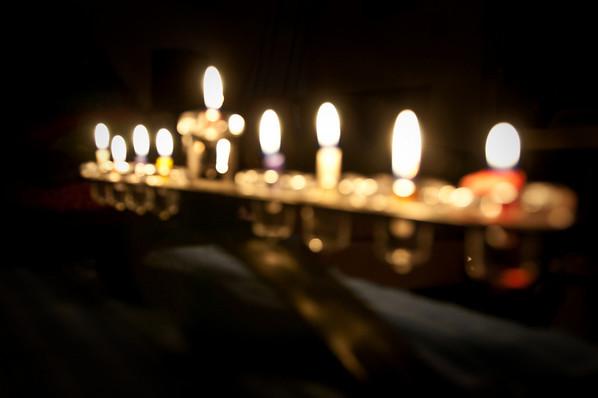 The Hanukkah lights.