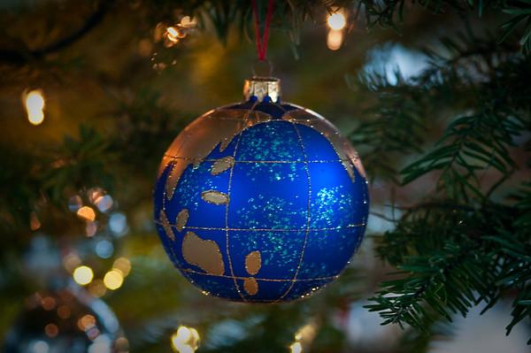 Sammi's globe ornament on The Nuttall's tree.