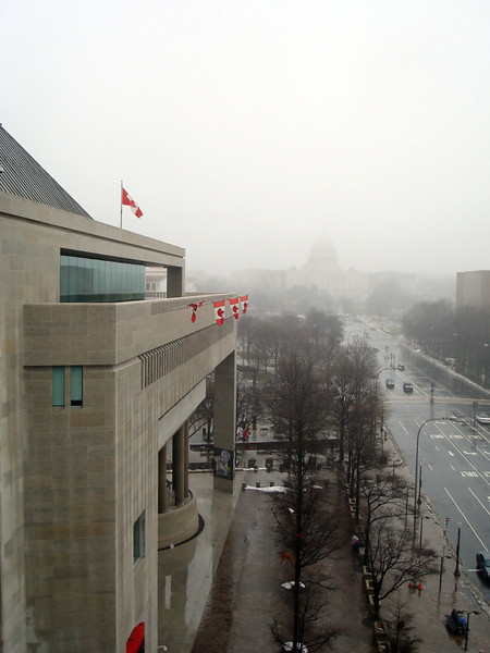 View from the Newseum. 'Twas a foggy and rainy day. That's the Capitol in the distance, and the Canadian embassy next door on the left.