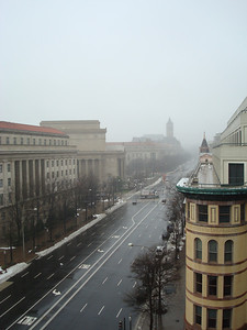 View from the Newseum. Down Pennsylvania Avenue toward the White House (which you couldn't see from here even if it was clear).