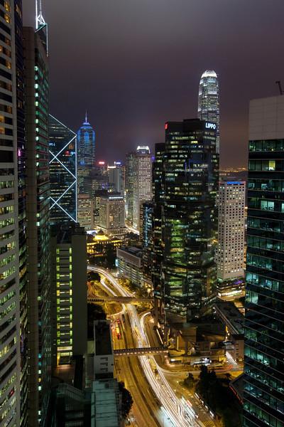 Conrad room view, Central Hong Kong at night