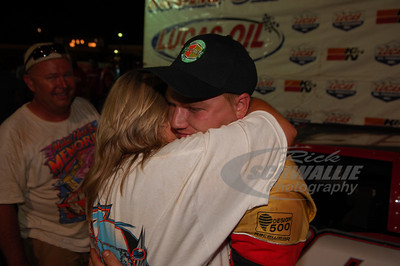 Jake Knowles gets a hug from his mom Cindy in Victory Lane @ Cleveland Speedway