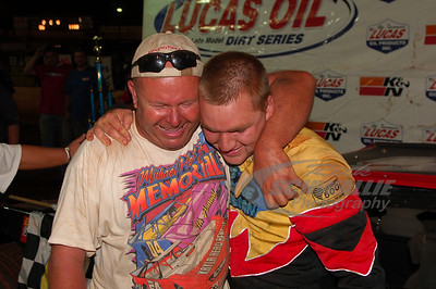 Jake Knowles in Victory Lane with car owner & track promoter Monty Morrow