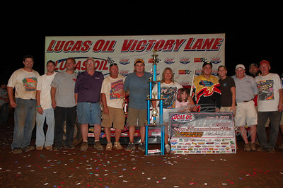 Jake Knowles with family and crew in Victory Lane @ Cleveland Speedway