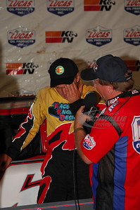 Jake Knowles is interviewed by series announcer James Essex in Victory Lane @ Cleveland Speedway