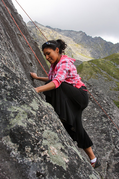 Spotty sunshine is almost the best weather one could ask for, as Joanna climbs higher on <i>Local Motion 5.7</i>.