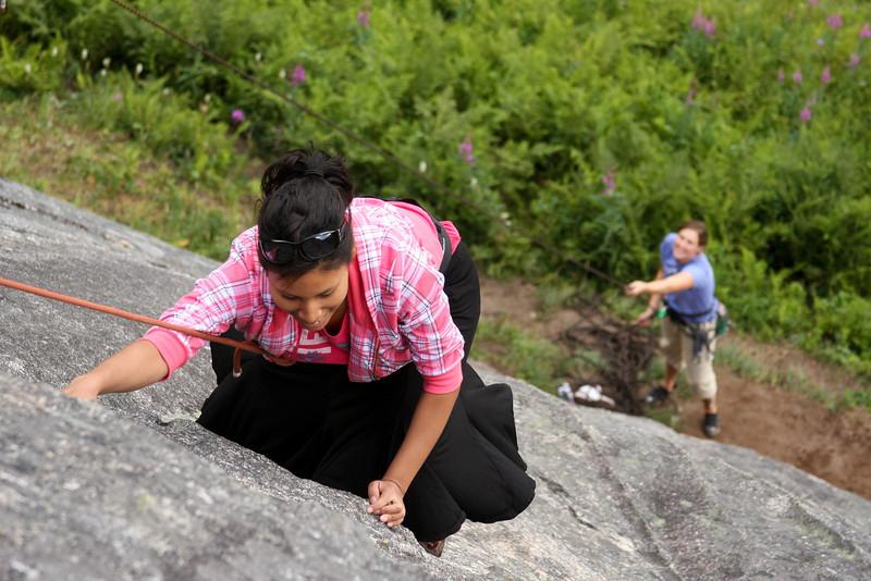 Joanna starts enjoying herself on <i>Local Motion 5.7</i>, her first climb ever.