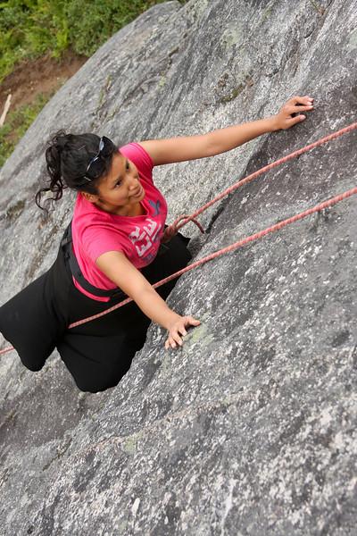 Joanna climbs her way up <i>Chickenhead 5.4</i>.