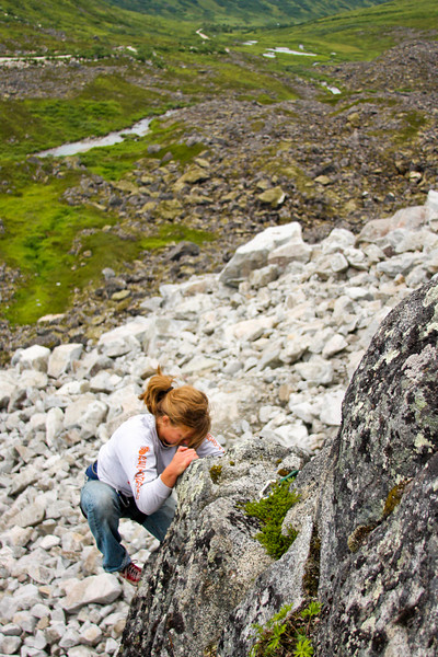 Tough moves fall behind as Melissa reaches the anchor ledge on this 5.8.